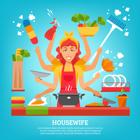 multitasking: Multitasking housewife with women in apron with eight hands holding different items for home work flat vector illustration