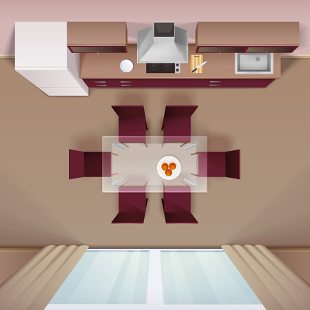 Moderne keuken met glazen eettafel en elektrische kookplaat ontwerp bovenaanzicht image reclame realistische vector illustratie Vector Illustratie