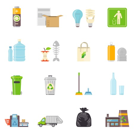 cleaning planet: Garbage Icons Set. Recycling Vector Illustration. Recycling Flat Symbols. Recycling Design Set. Garbage Recycling Collection.