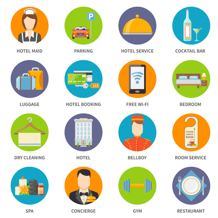 hotel service: Hotel Icons Set. Service Vector Illustration. Hotel Service Symbols. Hotel Service Flat Elements. Hotel Service Design. Hotel Service Isolated Collection.
