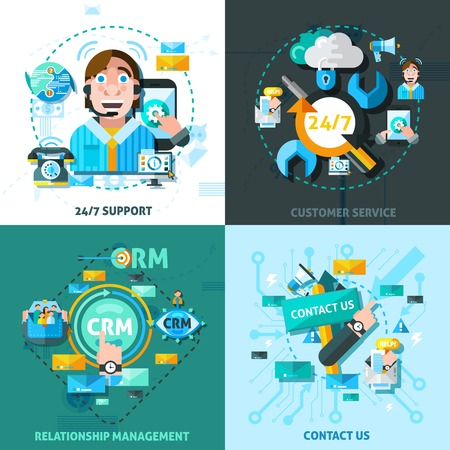 relationship management: Customer support concept icons set with relationship management symbols flat isolated vector illustration Illustration