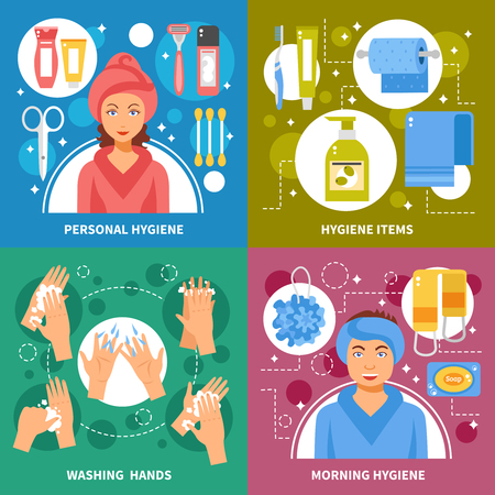 washing hands: Personal morning hygiene items and hands washing steps 4 flat icons square banner abstract isolated vector illustration