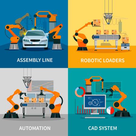 Iconos del concepto de automatización establecen con la línea de montaje y del sistema CAD símbolos ilustración del vector aislado plana