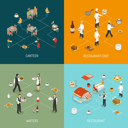 canteen: Restaurant chef and waters service and workplace canteen food 4  isomeric icons infographic elements composition abstract vector illustration