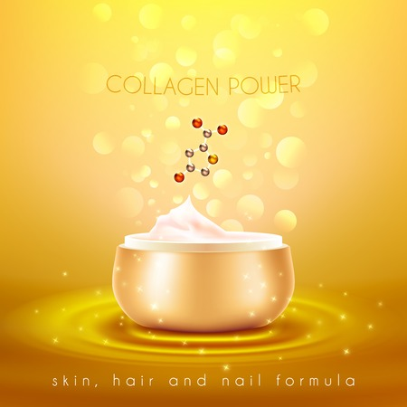 elasticity: Collagen power moisturizing face skin cream with anti-aging effect advertisement with golden background poster vector illustration Illustration