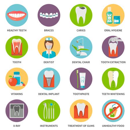 Dental Care Icons Set. Dental Care Vector Illustration. Dental Care Flat Symbols. Dental Care Elements Collection. Illustration