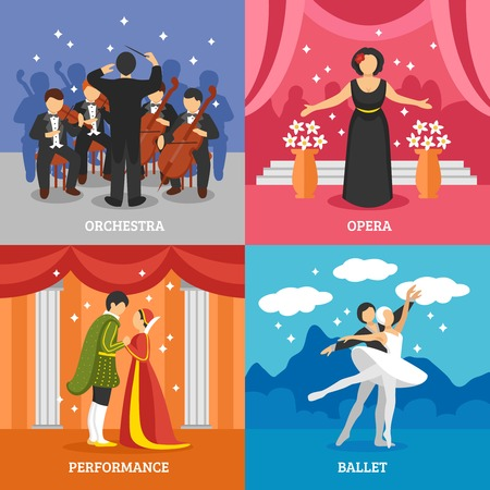 stage performance: Theatrical stage 2x2 design concept set of dramatic performance ballet opera and symphonic orchestra with conductor flat vector illustration