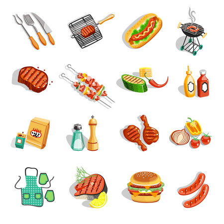 hot pepper: Summer barbecue party flat icons collection with grilled chicken drumsticks sausage and sauces abstract isolated vector illustration