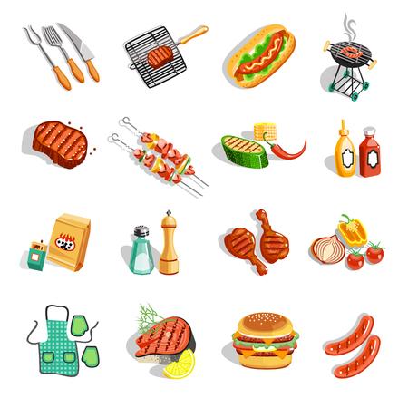 夏季烧烤派对平面图标收集与烤鸡腿,香肠和酱汁抽象孤立矢量插图