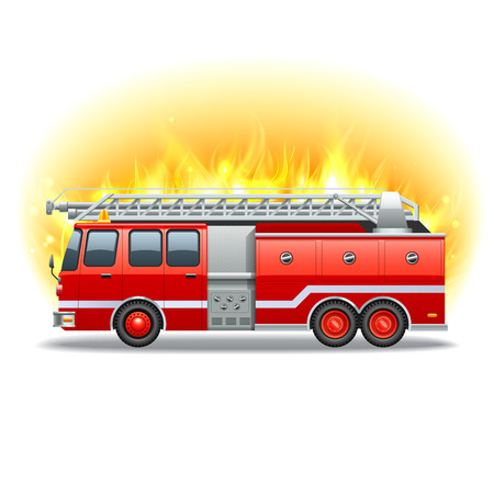 rescue: Red firetruck with rescue ladder and fire on background vector illustration