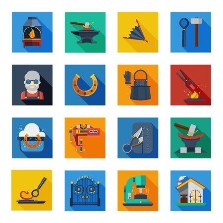 work tools: Blacksmith icons set of smithy tools work apron horseshoe welding machine in colorful squares flat vector illustration Illustration
