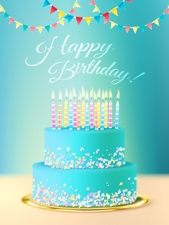 cake with icing: Happy birthday postcard with layered round  cake with blue icing candles and festive background realistic vector illustration Illustration