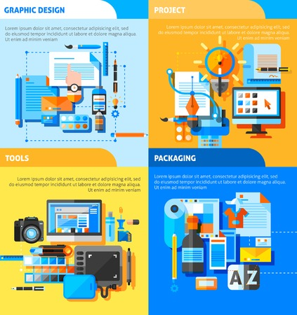 packaging equipment: Graphic design concept icons set with project and packaging symbols flat isolated vector illustration Illustration