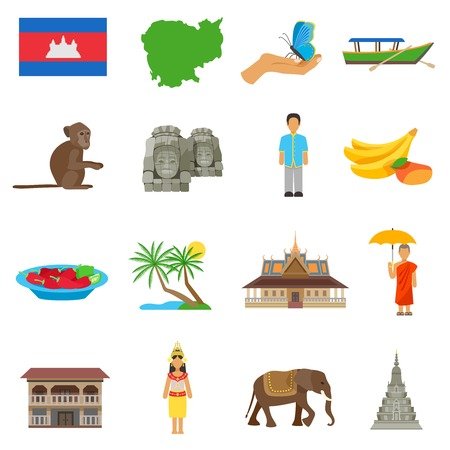 cambodian: Cambodian culture for tourits flat icons collection with boat temple and exotic animals abstract isolated vector illustration Illustration