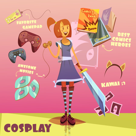 cosplay: Cosplay character cartoon set with comics books and movies symbols vector illustration