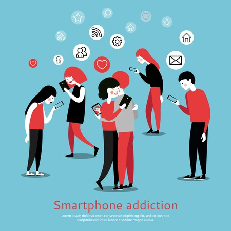overuse: Smartphone internet addiction awareness flat poster with people chatting with virtual friends and checking mails abstract vector illustration