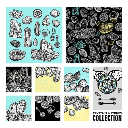 decorative objects: Crystals And Stones Sketch Concept Set. Crystals And Stones Decorative Objects. Crystals And Stones Vector Illustration. Crystals Hand Drawn Collection. Crystals Design Symbols.