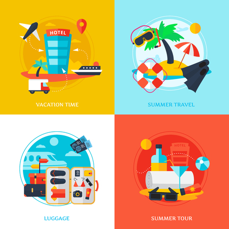 valise voyage: Decorative design concept with elements shown various types of traveling vector illustration