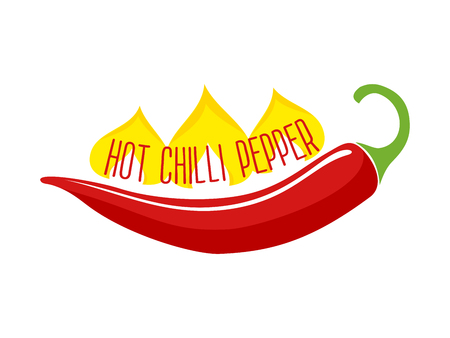single object: Flaming hot red chili pepper pod ingredient in indian and mexican dishes single object flat vector illustration