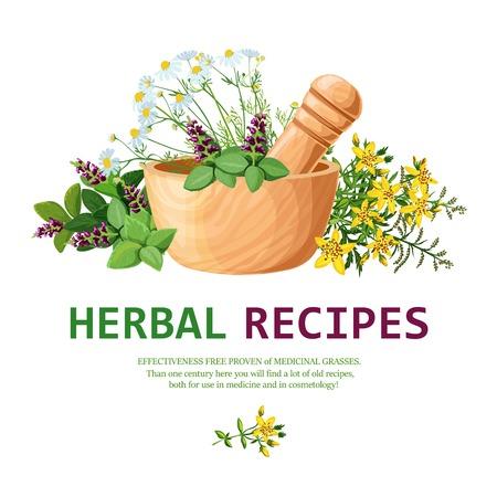 Illustration originale de couleur d'herbes médicinales dans le mortier d'argile avec un pilon pour la décoration de recettes à base de plantes illustration vectorielle Vecteurs