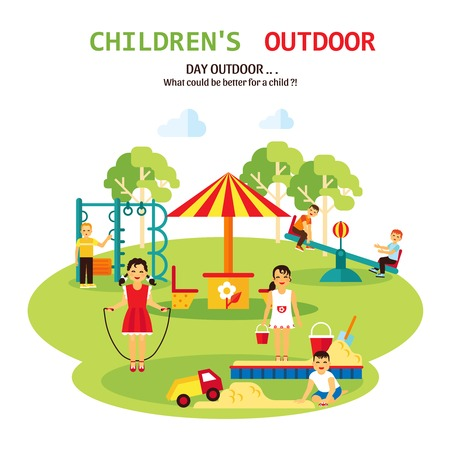 tagline: Color flat illustration with title and tagline of outdoor playground for children with sandbox seesaw and toy vector illustration