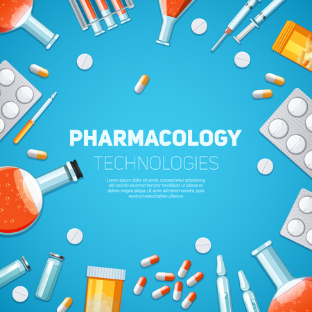 drugs pills: Pharmacology technologies background with drugs pills and capsules vector illustration