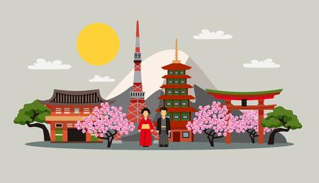 fuji mountain: Japan symbols composition flat decorative background poster with kimono dress fuji mountain and sakura blossom abstract vector illustration
