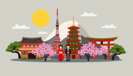 japon: symboles Japon composition plat affiche de fond décorative avec fuji robe kimono montagne et sakura fleur abstraite illustration vectorielle
