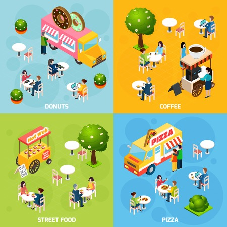 public service: Street food trucks and carts selling donuts coffee and pizza 4 isometric icons square abstract isolated vector illustration Illustration