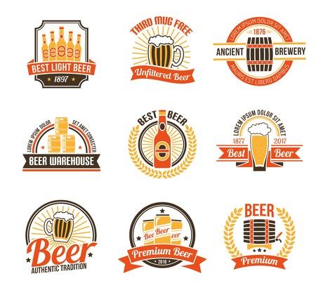 맥주 로고 설정합니다. 맥주 라벨 설정합니다. 맥주 엠블럼을 설정합니다. 맥주 벡터 일러스트 레이 션. 평면 기호 맥주. 맥주 세트 디자인.
