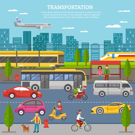 public transport: Transport in city poster with people and movement of airplane train tram bus individual vehicles vector illustration