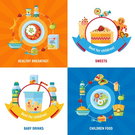 feeding bottle: Healthy daily food choice for babies and children 4 flat icons square banner abstract isolated vector illustration Illustration