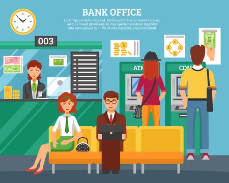 Las personas dentro de la oficina bancaria concepto de diseño con niños y niñas en los cajeros automáticos y terminales y clientes esperando ilustración vectorial plana mantenimiento