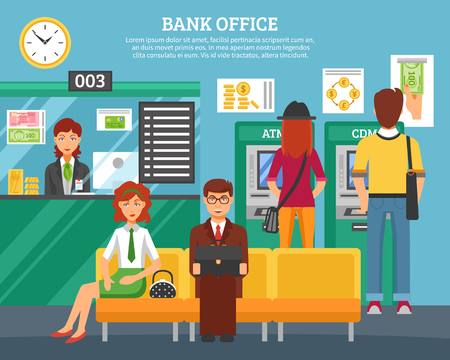 a bank employee: People inside bank office design concept with boy and girl at atm and terminal and customers waiting servicing flat vector illustration Illustration