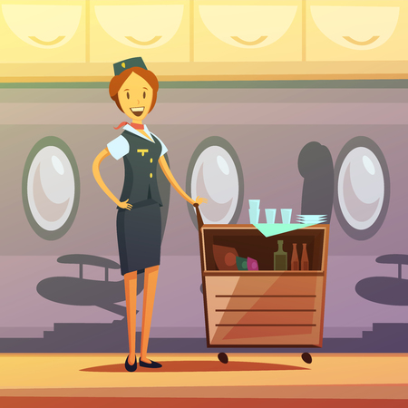 Stewardess and tray with food and drinks in the plane cartoon background vector illustration Illustration