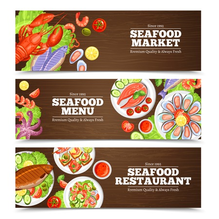 seafood: Color horizontal banners with title for seafood market menu or restaurant vector illustration