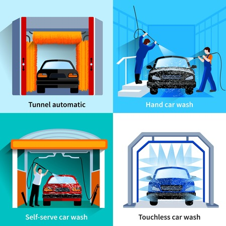 car care center: Car wash center automatic touchless and self service facilities 4 flat icons square composition abstract vector isolated illustration