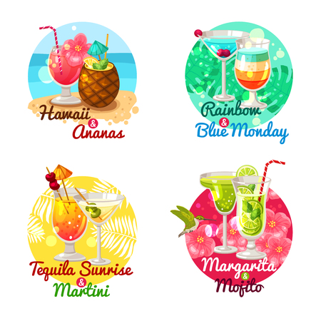 margarita glass: Flat composition 2x2 depicting type of tropical cocktails in special glasses with title vector illustration