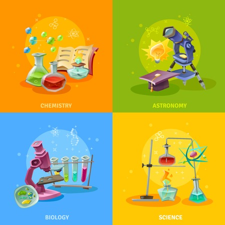 scientific: Scientific disciplines colorful concept astronomy chemistry biology and elements of physics isolated vector illustration