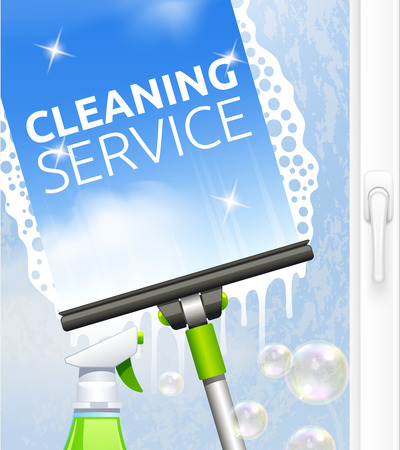 cleanness: Window cleaning service concept with glass scraper and spray vector illustration