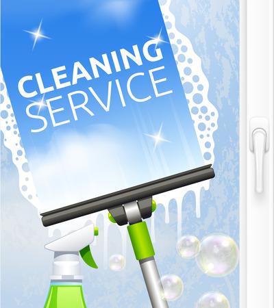 concetto di servizio di pulizia Finestra con raschietto e illustrazione vettoriale spruzzo