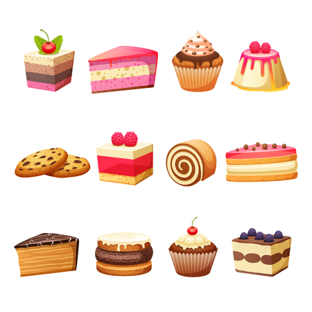 trozo de pastel: Tartas de pastelería y postres dulces establece la ilustración vectorial aislados Vectores