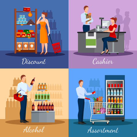 areas: Assortment of products in supermarket with areas discounts and payment isolated vector illustration Illustration