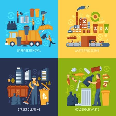 Colore concetto piatto che mostra la raccolta dei rifiuti e il trattamento dei rifiuti vettore illustrazione