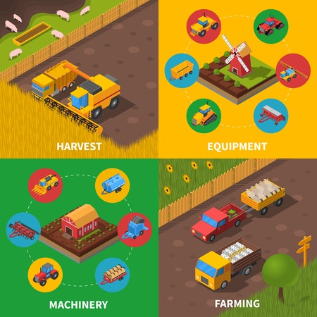 agricultural machinery: Agricultural machinery 4 isometric icons square composition poster with tractor combiner harvesting farmers equipment abstract vector illustration Illustration