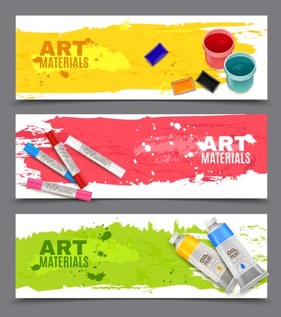 vector set: Artistic horizontal banners set with advertising of oil paints watercolor gouache and art pastels realistic vector illustration