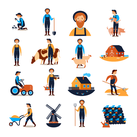 Farmers live and work with farmhouse livestock animals and harvesting flat icons collection abstract isolated vector illustration
