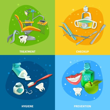 prophylactic: Comprehensive dental care concept 4 flat icons square composition poster with prevention checkup treatment symbols vector illustration