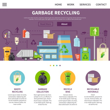 sorting: Garbage Recycling Symbols.Garbage Recycling  Presentation.  Recycling Flat Elements.Garbage Recycling Website.Recycling Vector Illustration. Garbage Recycling Page. Garbage Recycling Design.