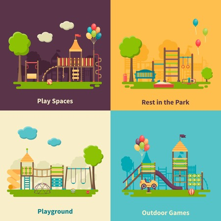 flying monkey: Color flat composition 2x2 depicting different outdoor playground and play spaces for rest in the park and games vector illustration Illustration